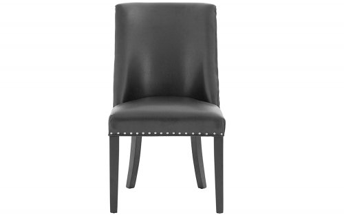 Xander-Black-Leather-Effect-Dining-Chair-Front-View