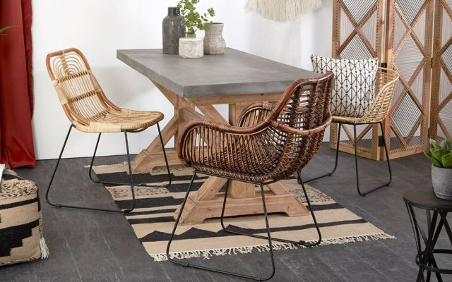 Cannella-Gita-Chair-with-Rattan-Chair-and-Grey-Top-Table