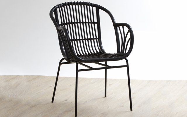 Quill-Black-Rattan-Chair-with-Raised-Sides-Angled-View