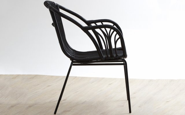 Quill-Black-Rattan-Chair-with-Raised-Sides-Side-View
