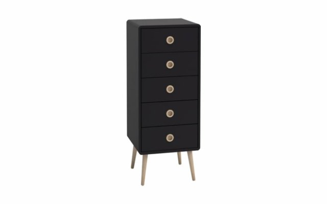 Scandi 5 Drawer Chest Narrow