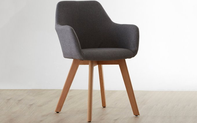 Acebo-Grey-Fabric-Chair-with-Wood-Legs-Angled-View