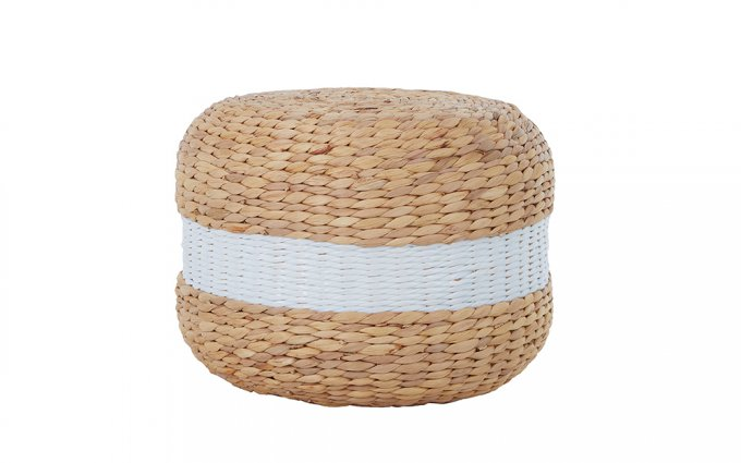 Coco-Seagrass-Pouffe-with-White-Stripe-1