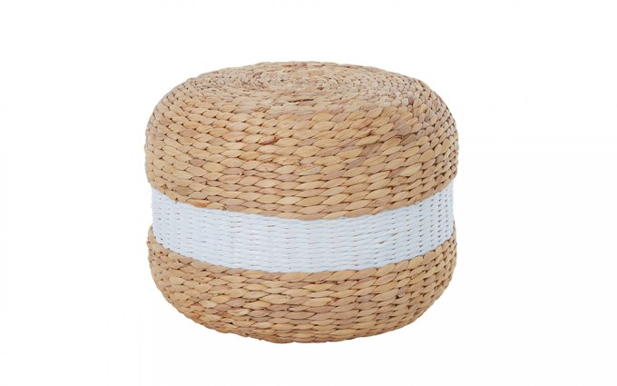 Coco-Seagrass-Pouffe-with-White-Stripe-3-Angled-View